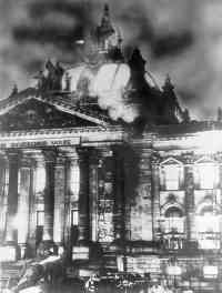 the burning of reichstag building I must admit, knowing the history of the building, the talking heads burning down the house as well as selections from the producers rang in my head the whole time ask dolphinslaxer about reichstag building.