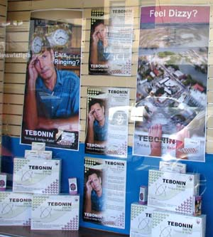 Pharmacy shop window display promoting Tebonin