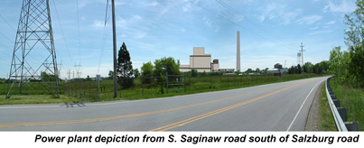 Artist's depiction of Mid Michigan Energy plant from Saginaw Road