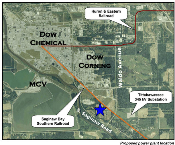 Aerial Shot of proposed location on Titabawassee River, near Dow, Dow Corning, and MCV sites