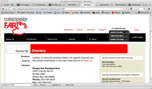 Screenshot of Christensen Farms site showing Hamilton as the Communications contact