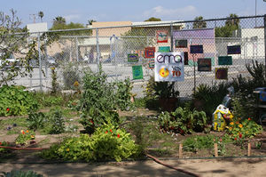"A photo from EMA's Westminster Avenue Elementary School ""organic"" garden includes a bag of Kellogg's sewage sludge-based Amend"