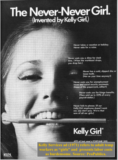 "<b>Kelly Services</b> ""Never Never Girl"" ad. Source: ProPublica - 400px-Kelly_Services_Never_Never_Girl"